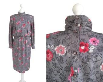 1980's Dress - 80's Vintage Dress - Grey Dress - Red Pink Flowers - Silky Floral Dress -  Andrea Gayle