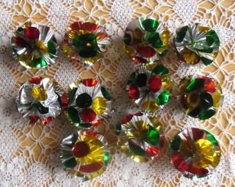 Vintage Christmas Ornaments - 1960s Atomic Foil Ornaments, Multicolor Ornaments, Space Age Aluminum Ornaments, Foil Christmas Balls