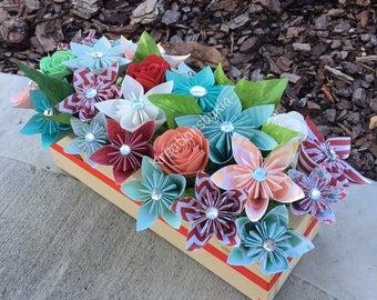 Origami Paper Flowers // Bouquet/ Floral Arrangement/ Flower Bouquet/ Origami Flowers/Paper Flowers/ Centerpiece