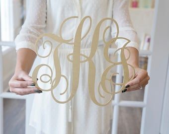 Large monogram sign wood wall art wedding decor wooden laser cut photography props