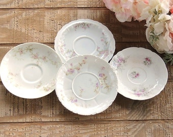 Vintage Limoges Mismatched Saucers Set of 4 Porcelain Plates Instant Wall Decor Tea Party China Replacement China