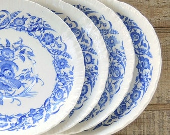 Wedgwood Cornflower Blue Plates Set of 4 Saucers for Cream Soup Bowls English Transferware Plates Ironstone, Tea Party Replacement China