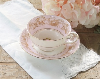 Vintage C and E Bone China Tea Cup and Saucer Set, Chelsea Pink Tea Cup Set, Tea Parties, Wedding
