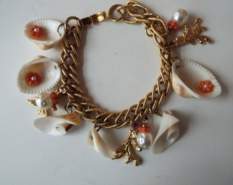sea shell pearl faux coral charm bracelet 7""