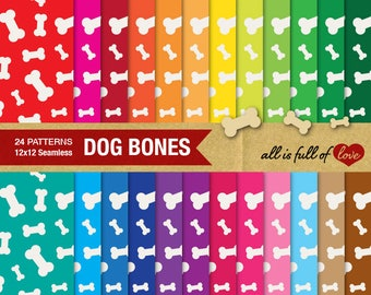 Bones Digital Paper Dog Bone Pattern Animal Digital Scrapbook Background Rainbow Graphics Pet Digital Paper Bone Background collage sheet
