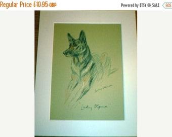 SALE Signed  Mounted 1937 'Mac' Lucy Dawson Lady Olfina Alsatian German shepherd dog plate/print Unique gift