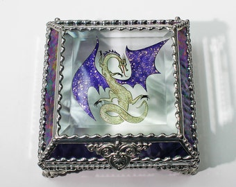 Celtic Dragon Glass Jewelry Box