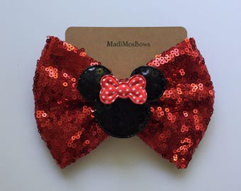 Minnie Mouse Clip big red bow on a 5 inch sequin bow