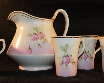 Beautiful Antique Handpainted Pitcher with 4 Matching Cups