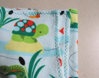 Frog pond, Large receiving blanket, pond life theme, swaddling blanket, flannel blanket, frogs & fish,  for a baby boy, reusable gift wrap