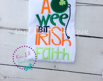 St. Patrick's Day Shirt - Personalized St. Patricks Day Shirt - Girls St. Patricks Day Shirt - A Wee Bit Irish - St. Pats Shirt