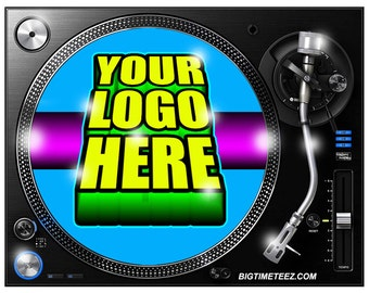 TWO Custom Turntable Vinyl Record Slipmats Full Color with Your Logo on a Pair of Dj Slip Mats Next Day Shipping! Makes a Great Gift