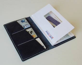 handmade leather cheque book case , business card case, night blue leather