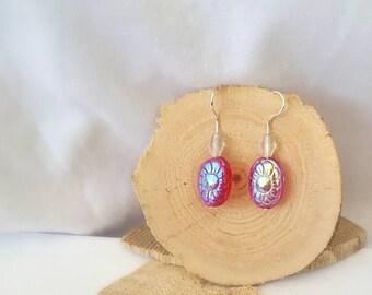 Iridescent Flower Glass Dangle Earrings