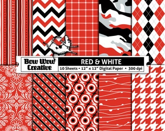 Red, white, black, digital, scrapbook paper, school colors, team, school colors, printable, patterns, college, sports, Ohio State Buckeyes