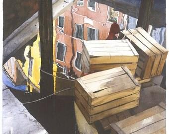 Venetian crates on a vegetable boat Watercolour Giclée print