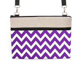 "13"" Laptop Tote Bag, MacBook Pro Crossbody, Macbook 12"" Shoulder Bag, Padded Messenger Bag, Dell Laptop Case - purple and white chevron"