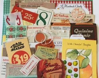 Kitchen Scrap Pack / 50 pc. Kitchen theme Ephemera Paper Pieces for Mixed Media Inspiration Kit, Collage, Altered Art