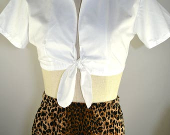 Perfect Little Vintage White Cotton Tie Front Crop Top