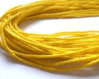 Yellow Cylinder Shaped Handmade African Waist Bead *per one strand*