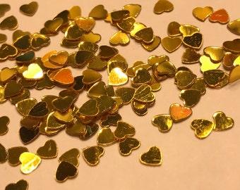 Tiny gold color heart confetti , 3 mm (37)+