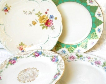 4 vintage mismatched salad plates floral breakfast plates floral side plates bridal shower tea party wedding P22