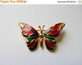 On Sale Retro Colorful Enameled Butterfly Pin Item K # 2405