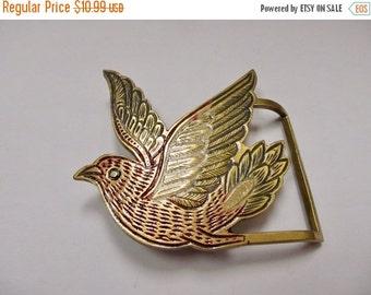 On Sale Vintage Enameled Solid Brass Bird Belt Buckle Item K # 2995