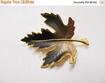 On Sale Vintage Brown and Black Enameled Leaf Pin Item K # 3214