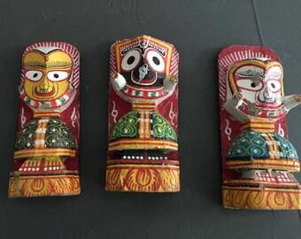 Vintage India Puri Lord Jagannath,lord Balabhadra And Lady Subhadra Religion Idol