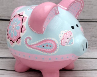 Personalized Piggy bank Artisan hand painted ceramic bank ~ Brooklyn in pink and blue
