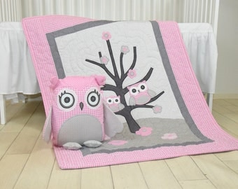 Pink Gray Owl Quilt and Personalized Owl Pillow