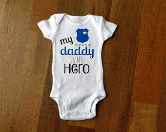 My daddy is my hero, police onesie.