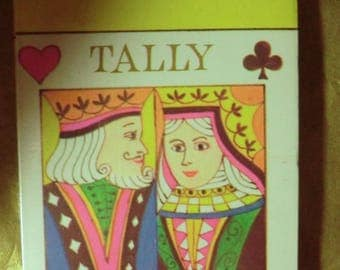 Vintage bridge tally set, king and queen face cards, card game tallies, retro 50s tally set, Norcross tally set  paper ephemera