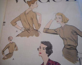 Vintage 1950's Vogue 9278 Wrap Blouse Sewing Pattern, Size 14 Bust 34