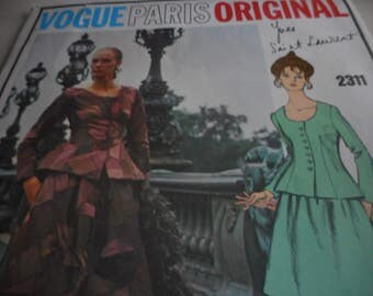 Vintage 1970's Vogue 2311 Paris Original Yves Saint Laurent Two-Piece Evening Dress Sewing Pattern, Size 10 Bust 32 1/2