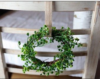 """Miniature Boxwood Wreath // Artificial Greenery // Chair Backer Decor // Farm Style Decoration // 6"""" // Country"""