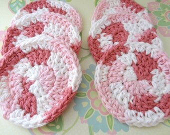 Set of 6 Crochet Pink and Ivory Face Scrubbies/Facial Scrubbies/Cotton Pads/Cleansing Pads - 100% Cotton - Ready to Ship