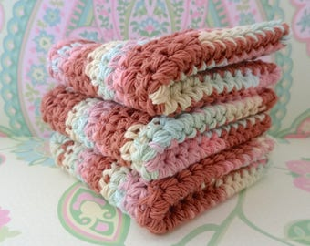 Crochet Wash Cloths/Face Cloths/Bath Cloths/Kitchen Cloths/Dish Cloths in Brown, Pink, Yellow, Green, Set of 3 - 100% Cotton - Ready to Ship