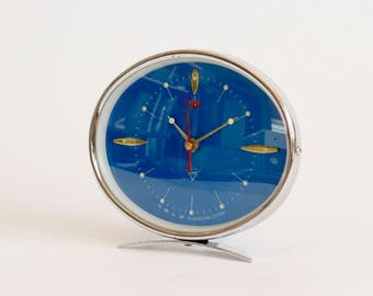 Vintage Mechanical Alarm Clock Treasure, Blue Alarm Clock, Working, Made In China Circa 1980's, Collectibles, Home Decor