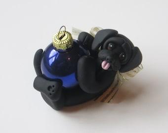 Labrador Retriever Dog Christmas Ornament Polymer Clay Black Personalized