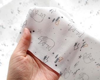 Bears Organic Knit Fabric, Organic Cotton Interlock Knit - Fabric By the Yard - 95956