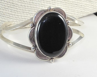 Vintage Native American Sterling Silver Huge Onyx Cuff Bracelet Signed