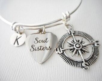 Soul Sisters, Compass- Initial bangle/ soul sister bracelets, soul sister charm bracelet, soul sisters bracelet, soul sisters bracelets