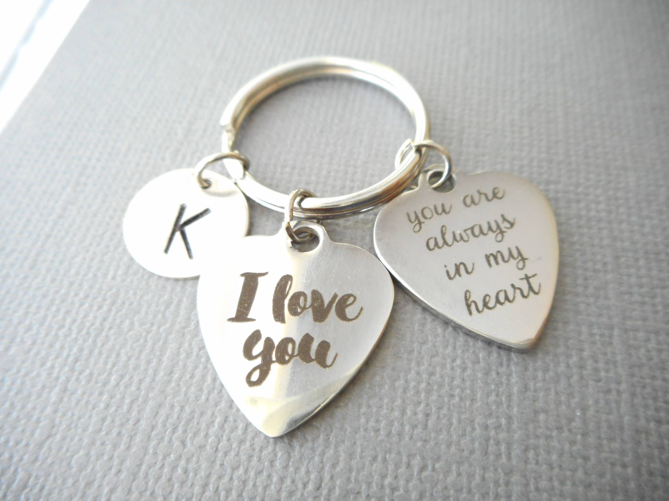 I Love You Are Always In My Heart Initial Keychain Gift For