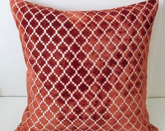 Cut Velvet Pillow, Throw Pillow, Velvet Pillow, Rust Velvet Pillow, Moroccan Pillow, Designer Pillow, Geometric Pillow, Decorative Pillow