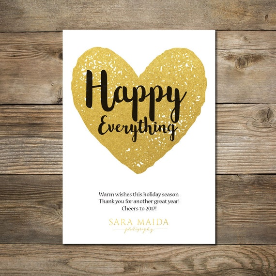Photo Christmas Card : Faux GoldFoil Business Holiday Card Happy Everything Photo Holiday Card Printable