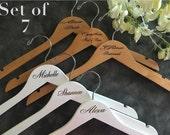 Set of 7 Laser Engraved Hangers/Laser Engraved Bridal Hanger/ Bride /Wedding Hanger/ bridal party gift/Engraved hanger/ wedding hanger