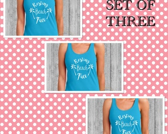 Bridesmaids Gifts/SET OF THREE Resting Beach Face Tanks/Bachelorette Party Shirts/Bridal Party Shirts/Beach Shirt/Racer Back Tank Top