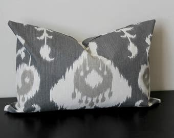 Decorative Throw Pillow Cover, Gray and White Ikat Pillow Covers, Lumbar Pillow, Accent Pillow, Throw Pillow Cover,Toss Pillow, 12x18, 20x20
